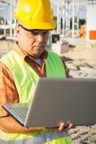 Construction Worker Using Laptop Stock Photos