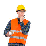Construction worker using walkie-talkie. Royalty Free Stock Images
