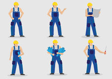 Construction Worker Vector Cartoon Character Set Royalty Free Stock Image