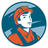 Construction Worker. Vector emblem with a half-figure builder in helmet Royalty Free Stock Photo