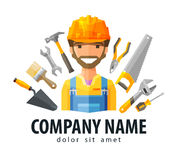 Construction worker vector logo design template. Happy Builder in a helmet on a background of building tools. vector. flat illustration Royalty Free Stock Photos