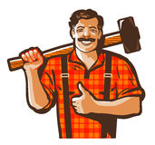Construction worker vector logo. workman, laborer or blacksmith icon. Worker with a sledgehammer in hand isolated on white background. vector illustration Royalty Free Stock Photo