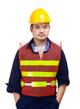 Construction worker waering safety helmet Royalty Free Stock Photo