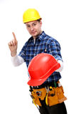Construction worker warning about hardhat Royalty Free Stock Photography