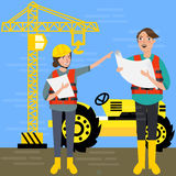 Construction worker wearing helmet safety in front background crane tractor building. Vactor royalty free illustration