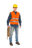 Construction worker wearing reflective clothing and holding bundle rope. Construction worker holds a rope. Full length studio shot isolated on white Royalty Free Stock Photography