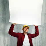 Construction worker with whiteboard Royalty Free Stock Photos