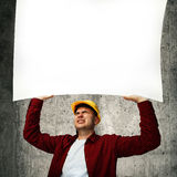 Construction worker with whiteboard Stock Photo