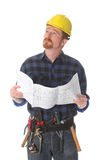 Construction worker wonderfully looking up Royalty Free Stock Images