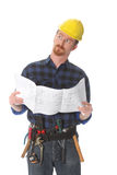 Construction worker wonderfully looking up Royalty Free Stock Photo