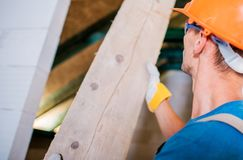 Construction Worker with Wood Royalty Free Stock Photos