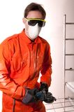 Construction worker at work. Man construction worker at work Royalty Free Stock Images