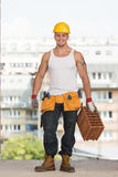 Construction Worker At Work With Brick Royalty Free Stock Photography