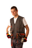 Construction worker in work dress isolated Stock Photos