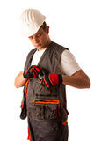 Construction worker in work dress isolated over white background Stock Photography