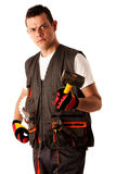 Construction worker in work dress isolated over white background Royalty Free Stock Photography