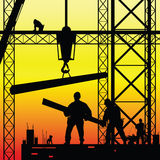 Construction worker at work and dusk vector Royalty Free Stock Photography