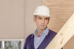 Construction Worker with work order Stock Photo