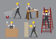 Construction Worker at Work Vector Characters Stock Photography