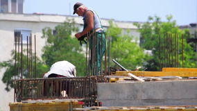 Construction worker stock video footage