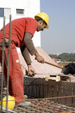 Construction Worker Works With Hammer Stock Image
