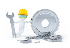 Construction worker with wrench and gears Royalty Free Stock Photo