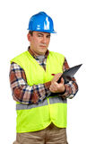 Construction worker writing Royalty Free Stock Images