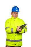 Construction worker writing Royalty Free Stock Image