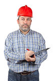 Construction worker writing Royalty Free Stock Photography