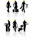 Construction workers. High quality vector construction workers with different tools Royalty Free Stock Image