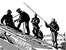 Construction workers. Illustration of team of construction workers on the roof royalty free illustration