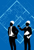 Construction workers. On a architectural drawing background royalty free illustration