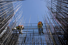 Construction workers. Two workers in the construction industry Stock Images
