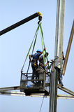 Construction Workers. Placing steel infrastructure Royalty Free Stock Photos