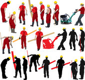 Construction workers. Team of Construction workers in red workwear an yellow helmets. Vector illustration and silhouettes. Other vector people in my portfolio Royalty Free Stock Photos