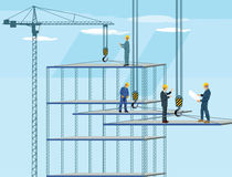 Construction workers and architects on a crane Royalty Free Stock Photos