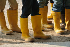 Construction workers in boots Royalty Free Stock Images
