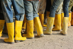 Construction workers in boots Royalty Free Stock Image