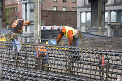 Construction workers building royalty free stock photography