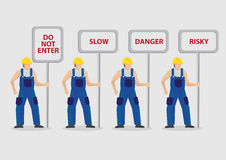 Construction Workers Carrying Warning Signs Vector Illustration Stock Images