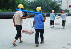 Construction workers in Chengdu. Construction workers are carring bricks , in Chengud,China Stock Image