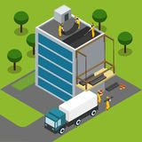 Construction Workers Completing Building Isometric Banner Royalty Free Stock Photography