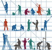 Construction workers and craftsmen. Colorful silhouette of construction workers and craftsmen performing various duties with window architecture in background Royalty Free Stock Image