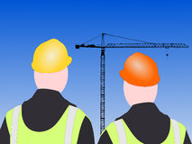 Construction workers and crane Stock Image
