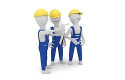 Construction workers discussing project. 3D concept of construction workers wearing yellow protective helmet discussing project Royalty Free Stock Images