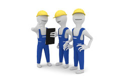 Construction workers discussing project. 3D concept of construction workers wearing yellow protective helmet discussing project Royalty Free Stock Photo