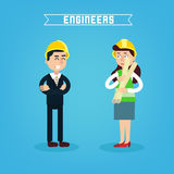 Construction Workers. Engineer and Project Manager. Construction Engineering. Vector illustration Stock Photography