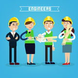 Construction Workers. Engineer and Project Manager. Construction Engineering. Vector illustration Royalty Free Stock Images