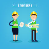 Construction Workers. Engineer and Project Manager. Construction Engineering. Vector illustration Stock Images