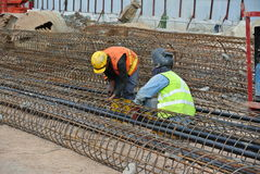 Construction workers fabricated bore pile reinforcement bar at the construction site. Royalty Free Stock Photography